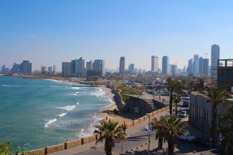 Красивый старый городок, вид на море в Яффе, Тель-Авив, Израиле стоковые изображения