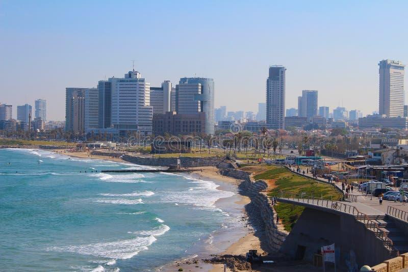 Красивый старый городок, вид на море в Яффе, Тель-Авив, Израиле стоковые фото