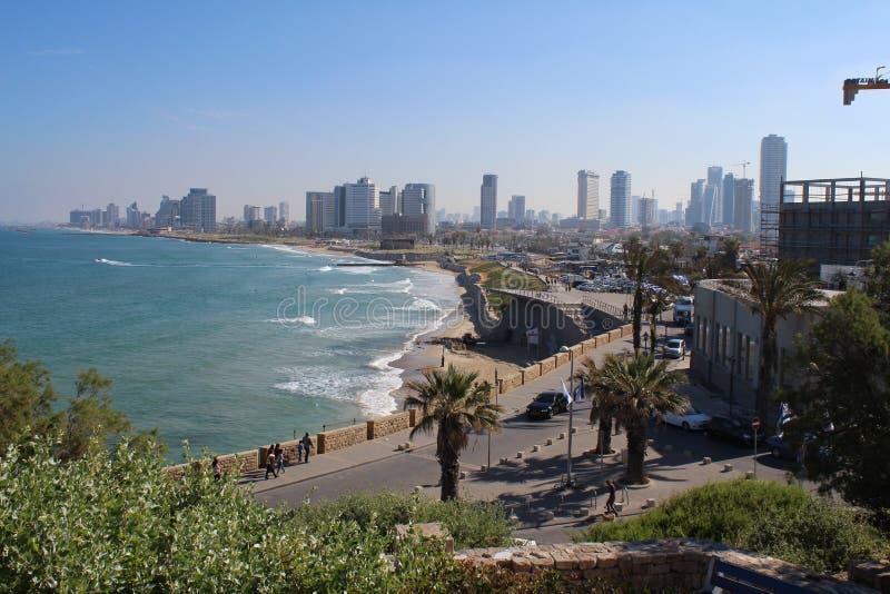 Красивый старый городок, вид на море в Яффе, Тель-Авив, Израиле стоковое фото