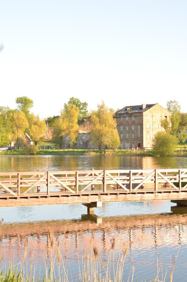 Красивый солнечный взгляд в парке с мостом над рекой Время лета и осени стоковое изображение rf