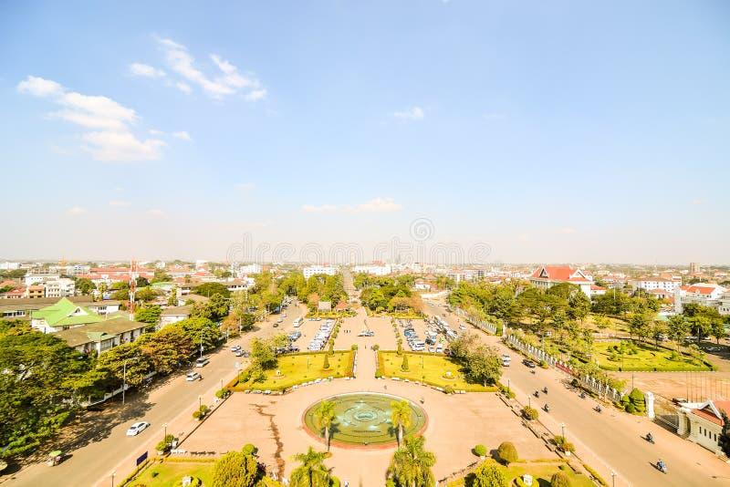 Красивое фото дуги triomphe в Вьентьян Лаосе, Азии стоковая фотография rf