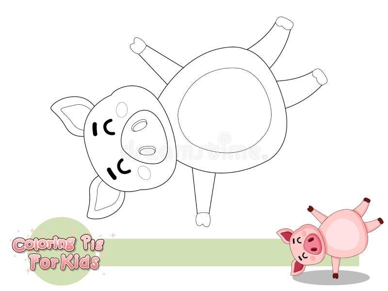 Красить милую свинью шаржа Воспитательная игра для детей Иллюстрация вектора с животным стиля шаржа смешным иллюстрация вектора