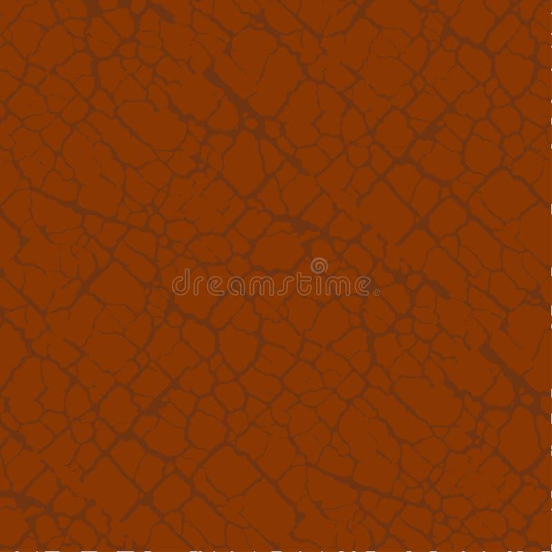 Красная терракотовая почва трескает безшовную картину иллюстрация вектора