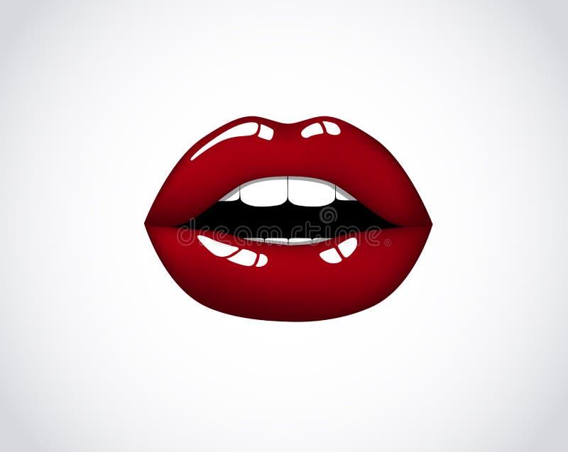 Красные губы девушки Рот женщины сексуальный красный Женский шикарный поцелуй с губной помадой, лоск бархата Валентинки, логотип  бесплатная иллюстрация