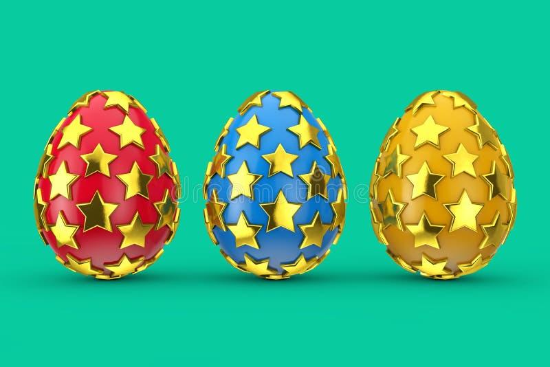 Красные, голубые и желтые пасхальные яйца с золотыми звездами перевод 3d иллюстрация штока
