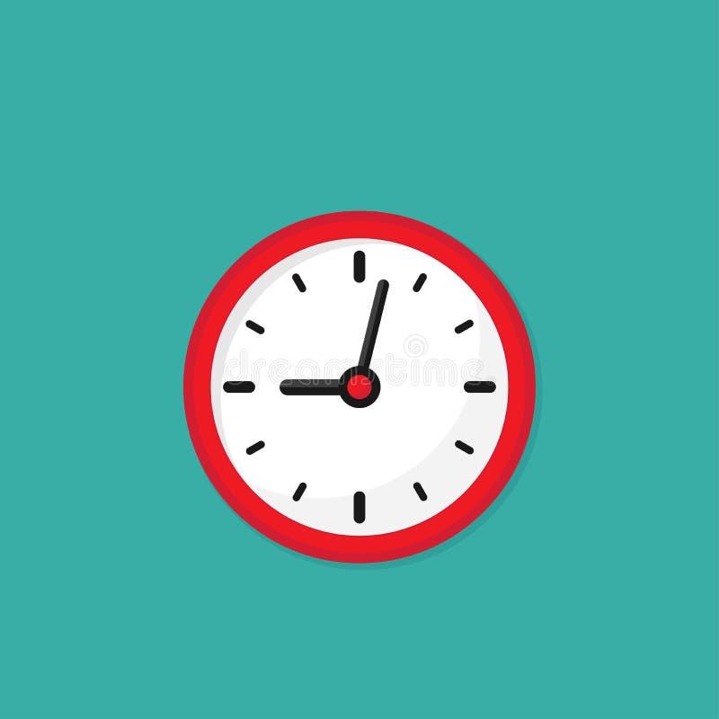 Красные и белые часы Плоский значок изолированный на окисях кобальта иллюстрация штока