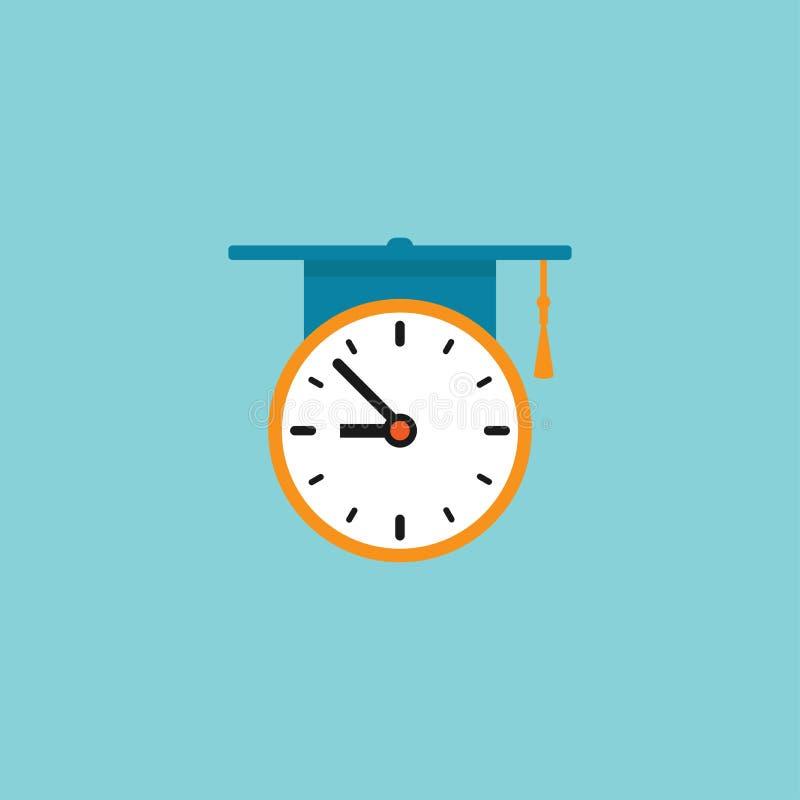 Красные и белые часы с доской крышки или миномета градации плоский значок изолированный на сини иллюстрация штока