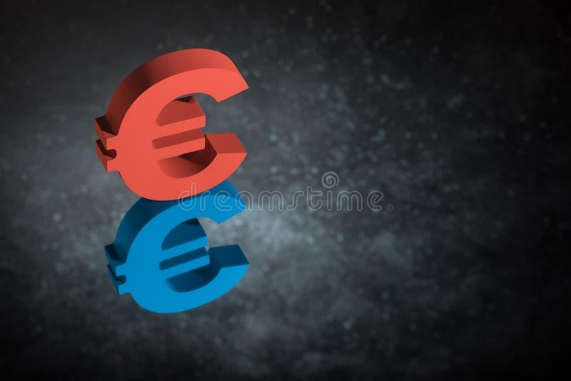 Красные и голубые символ или знак валюты ЕС с отражением зеркала на темной пылевоздушной предпосылке иллюстрация штока