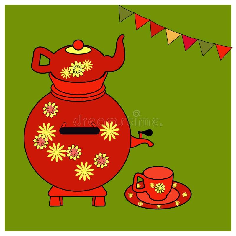 Красные самовар и утвари для чая с желтым флористическим орнаментом Красные чайник, чашка и поддонник Воспитательные карты или по иллюстрация вектора
