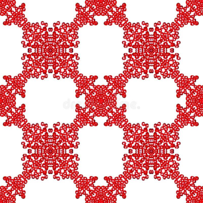 Красные стеклянные бусины на картине белой предпосылки безшовной иллюстрация вектора