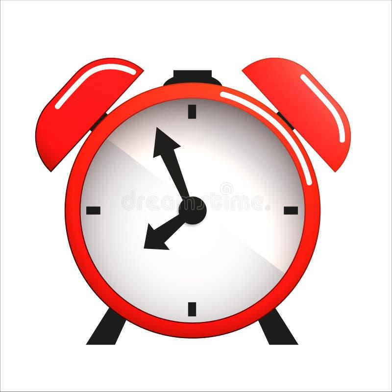 Красный будильник с объектом значка вектора стрелок иллюстрация штока