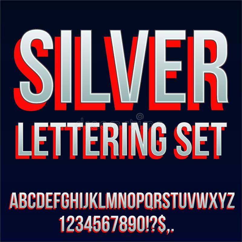 Красный серебряный шрифт стоковое изображение