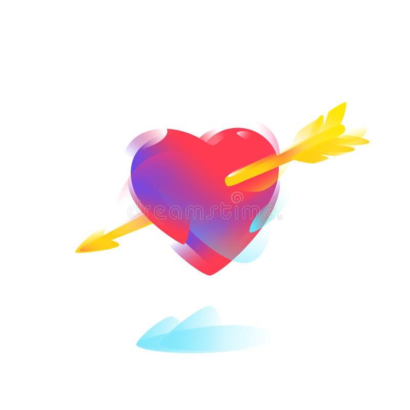 Красное сердце с золотой стрелкой вектор Иллюстрация для приглашения к свадьбе Изображение изолировано на белой предпосылке _ иллюстрация штока