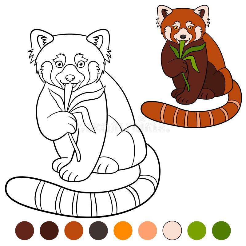 Крася страница: красная панда Маленькая милая красная панда ест листья бесплатная иллюстрация