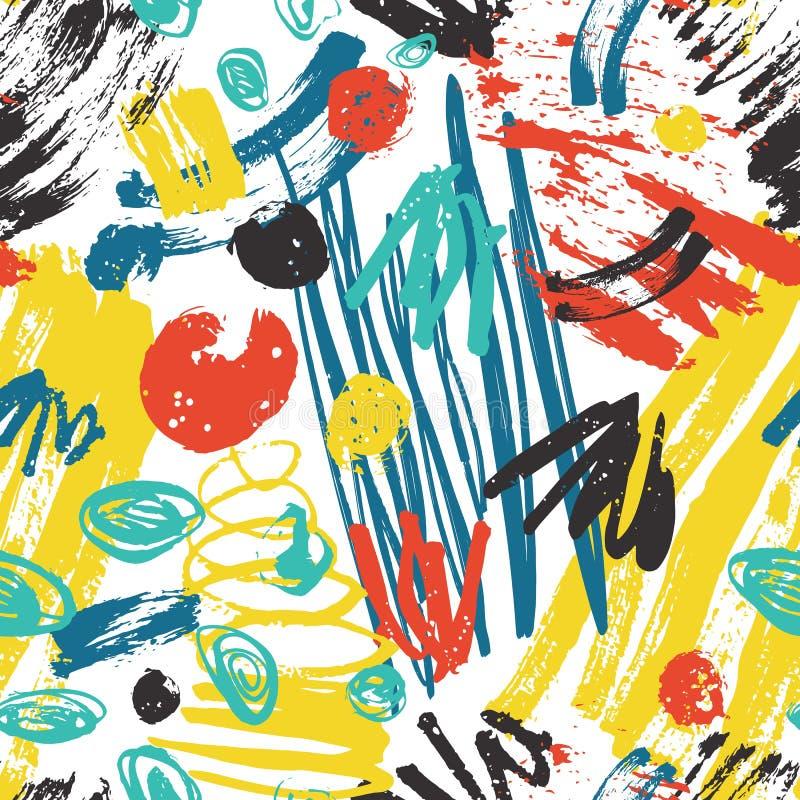 Красочная абстрактная безшовная картина с грубыми трассировками краски, ходами щетки, scribble на белой предпосылке наконечников иллюстрация штока