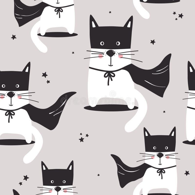 Красочная безшовная картина с милыми котами, звездами иллюстрация вектора