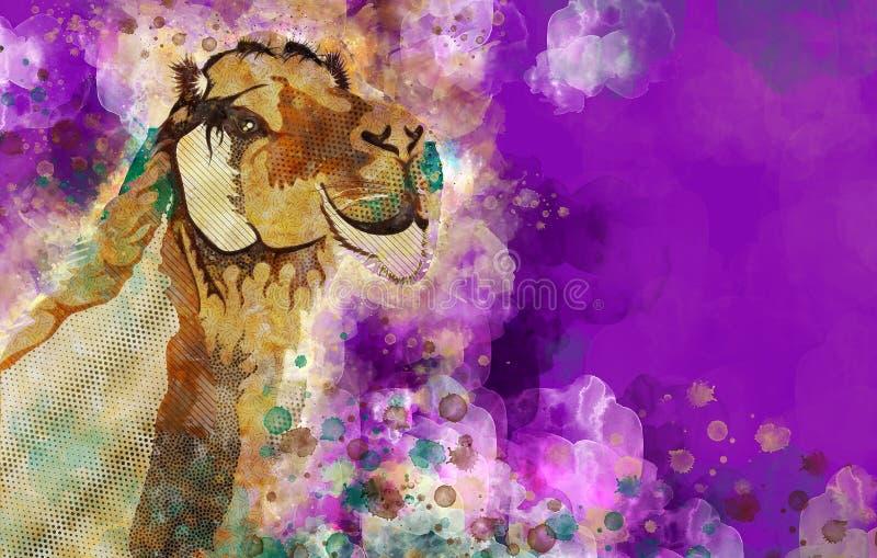 Красочная иллюстрация верблюда дромадера акварели иллюстрация вектора