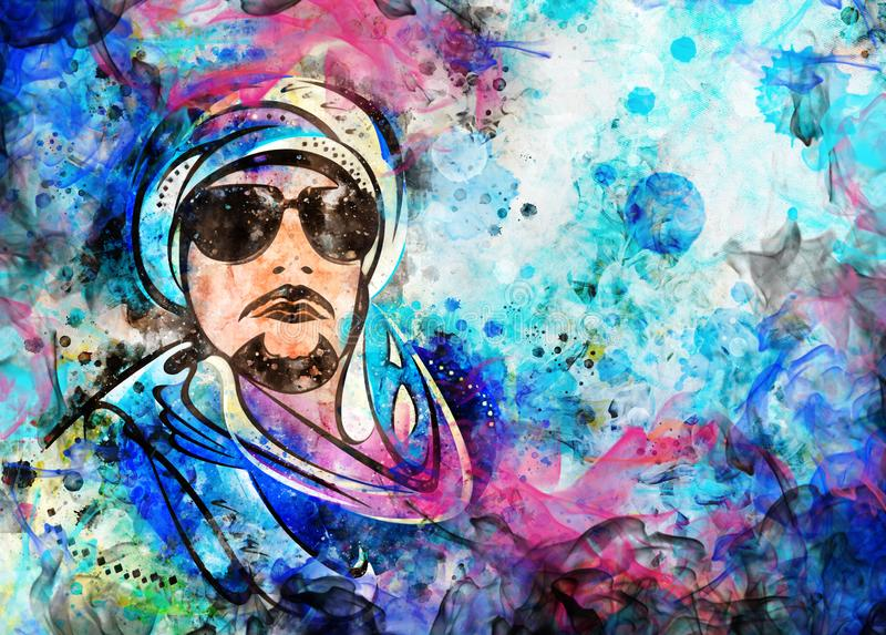 Красочная иллюстрация стиля акварели аравийского человека иллюстрация вектора