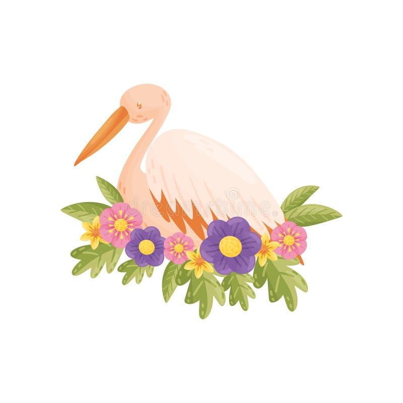 Красочная птица на белой предпосылке Иллюстрация вектора плоская бесплатная иллюстрация