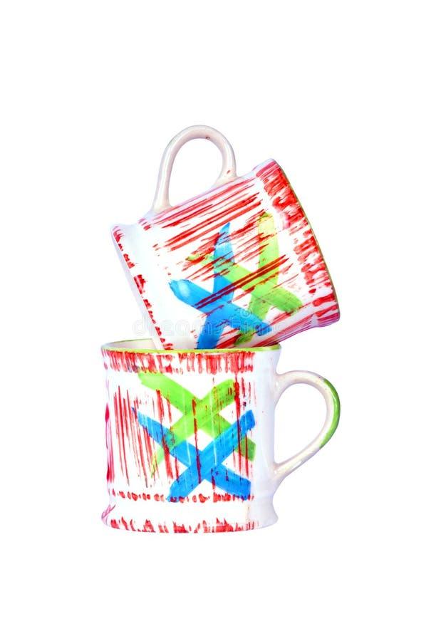 Красочные кофейные чашки в белой предпосылке стоковая фотография rf