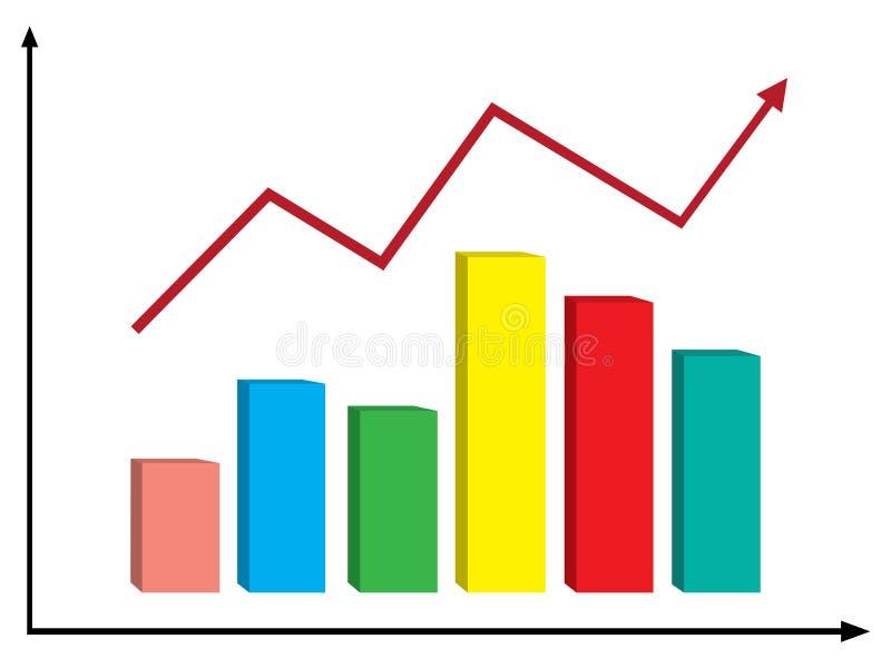 Красочный график с красной стрелкой бесплатная иллюстрация