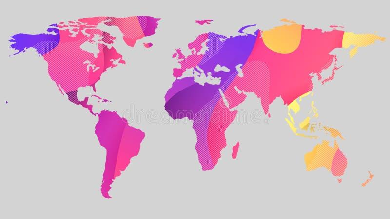 Красочный план карты мира на абстрактной предпосылке светлого - серые цвета иллюстрация штока