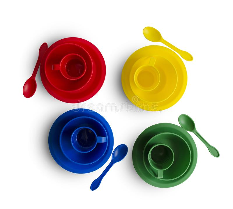 Красочный пластиковый tableware на белой предпосылке с путем клиппирования Прозрачная коробка стоковая фотография