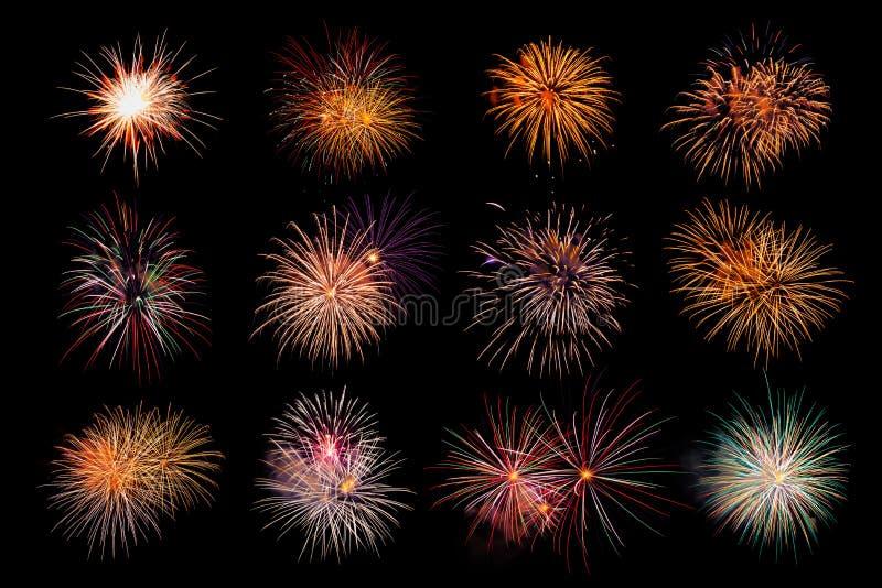 12 красочных фейерверков на черной предпосылке стоковое изображение rf