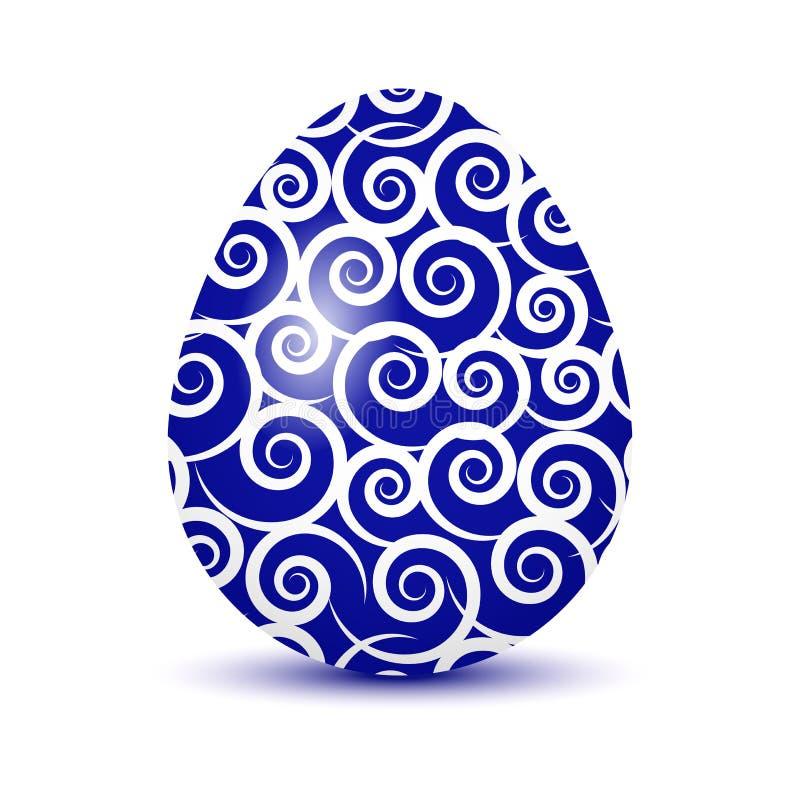 Красочное пасхальное яйцо с покрашенной тенью Голубые и белые цветы также вектор иллюстрации притяжки corel иллюстрация вектора