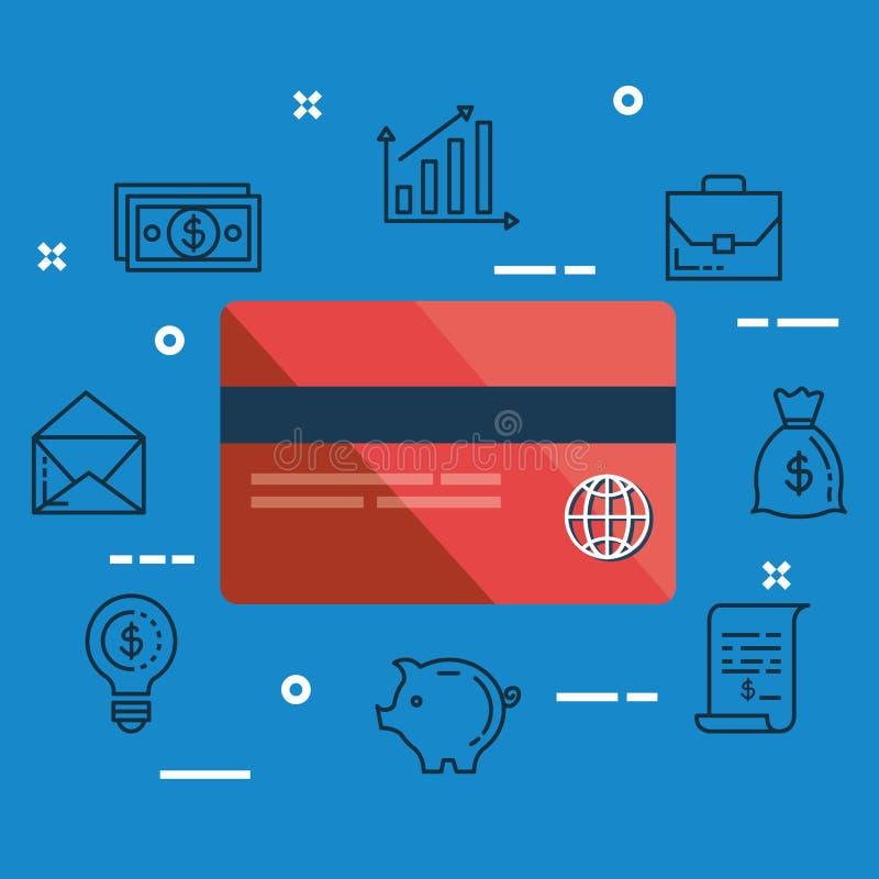 Кредитная карточка финансов с сумкой денег иллюстрация вектора