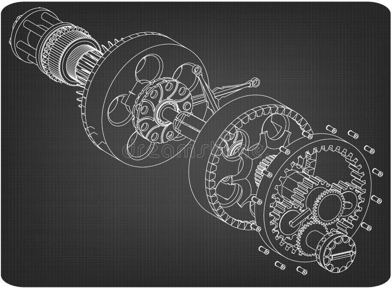 Кривошин от авиационного двигателя на сером цвете иллюстрация штока