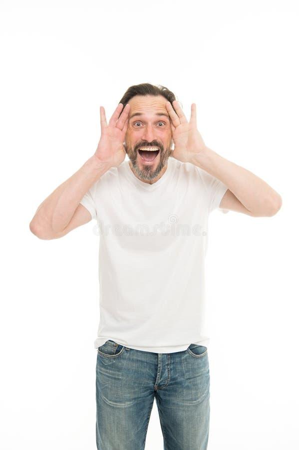 Кричащее человека возбужденное к вам Зрелый харизматический диктор возбужденный для того чтобы сообщить Общественная беседа конце стоковые изображения