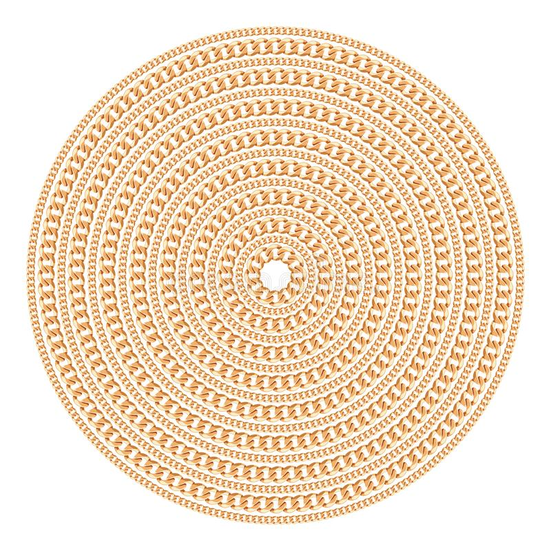 Круглая картина сделанная с золотыми цепями Изолировано на белой предпосылке также вектор иллюстрации притяжки corel иллюстрация вектора