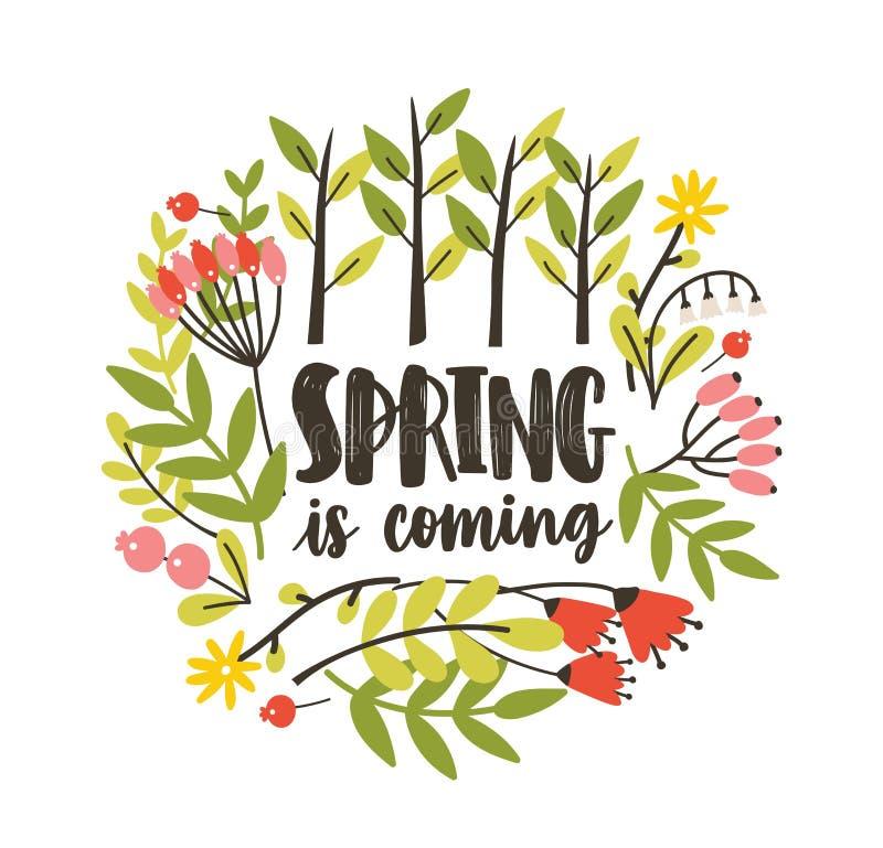 Круглый сезонный декоративный состав с весной приходя лозунг рукописный с cursive каллиграфическим шрифтом, зацветая бесплатная иллюстрация