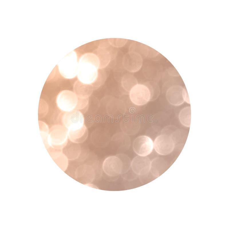 Круг с розовыми светами bokeh яркого блеска золота изолированными на белой предпосылке стоковая фотография rf