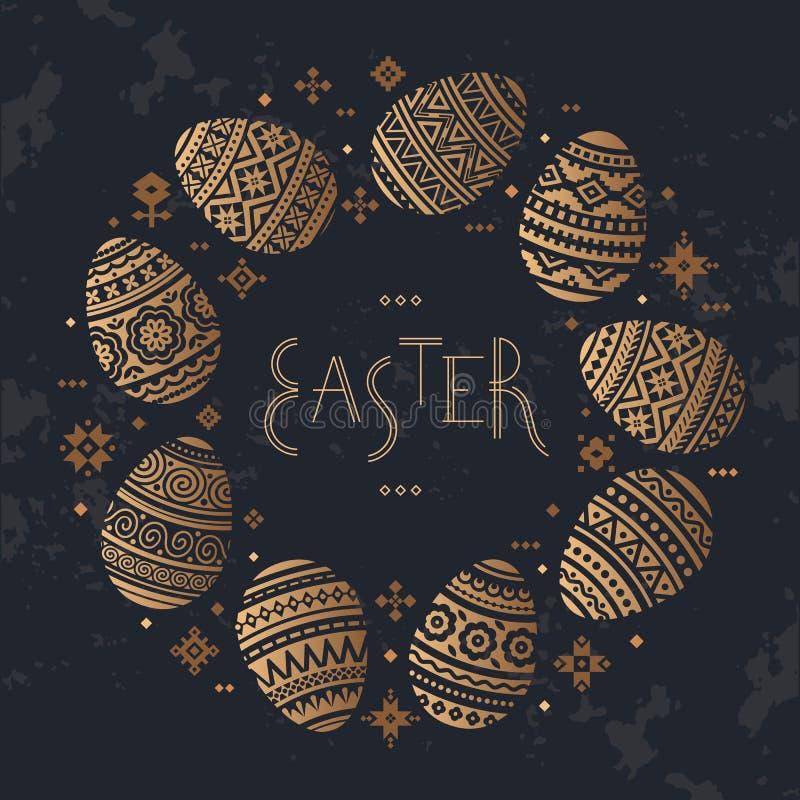 Круговой шаблон значков вектора пасхального яйца плоских покрашенных в традиционном стиле бесплатная иллюстрация