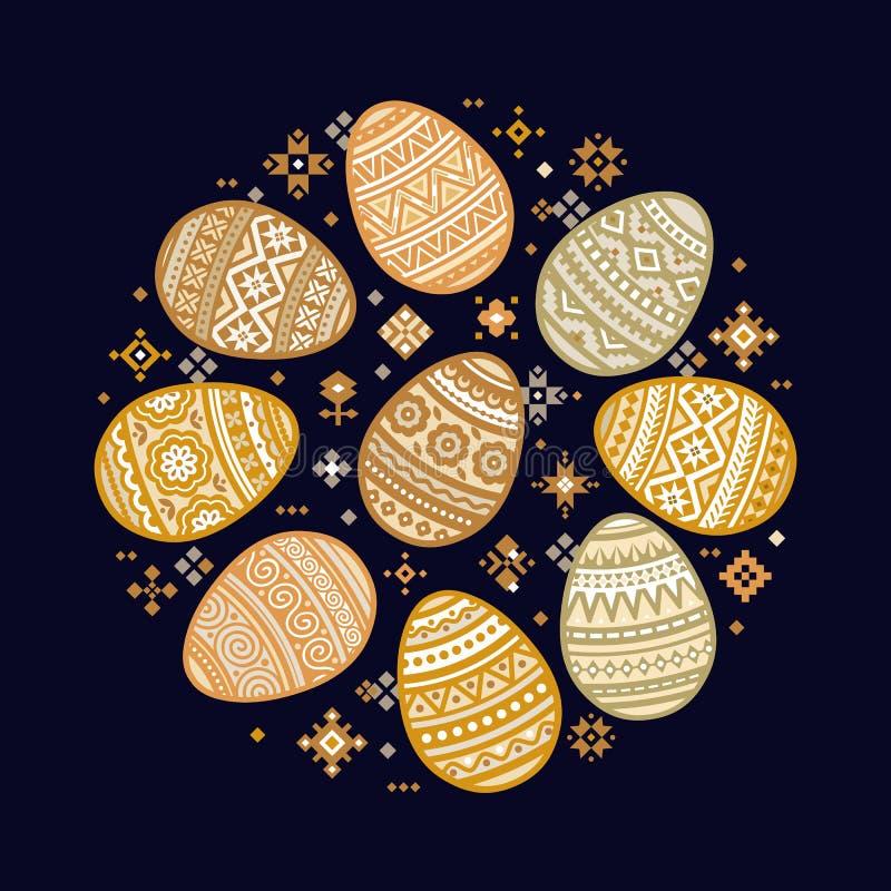 Круговой шаблон значков красочного вектора пасхального яйца плоских покрашенных в традиционном стиле бесплатная иллюстрация