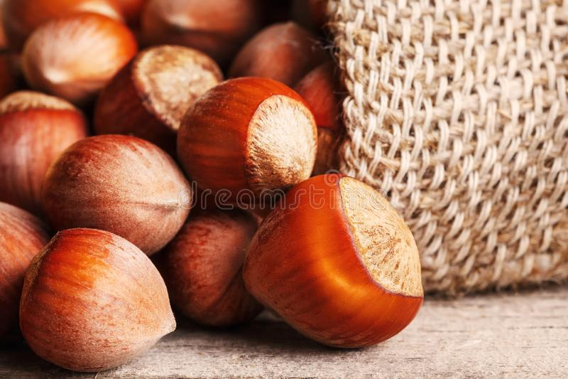 Крупный план гайки фундука полил из сумки на сером деревянном столе Органическое полученное новое В здоровой вегетарианской супер стоковое изображение rf