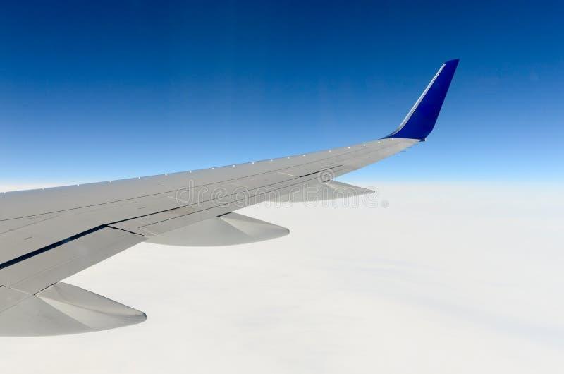 Крыло самолета над ледниками 4 Гренландии стоковое фото