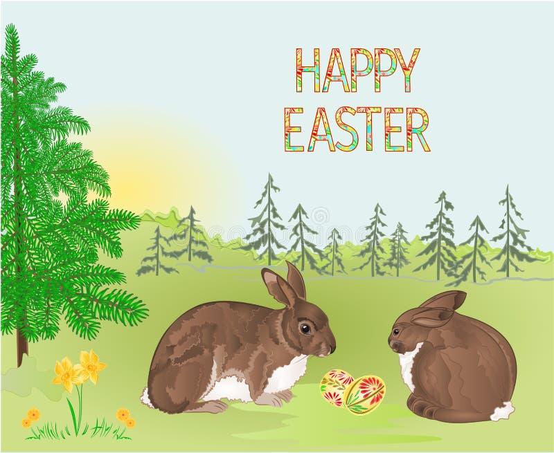 Кролики пасхи леса ландшафта весны и пасхальные яйца в траве с иллюстрацией вектора цветков винтажной editable иллюстрация штока