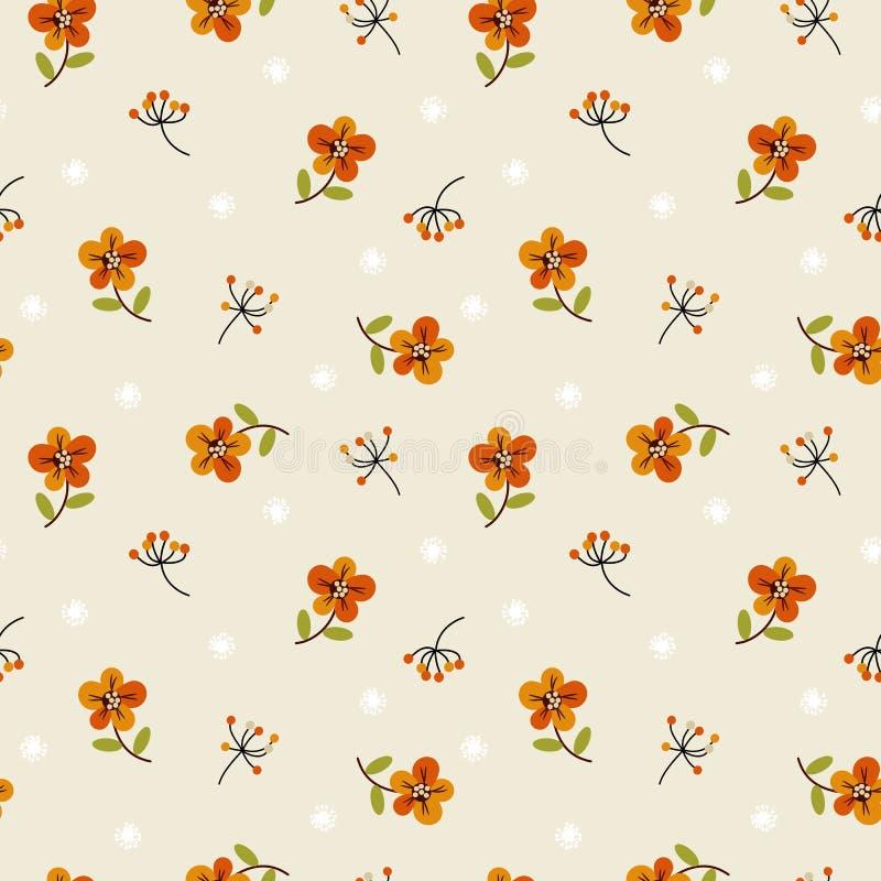 Крошечные цветки и листья Нежный, картина весны флористическая безшовная иллюстрация вектора