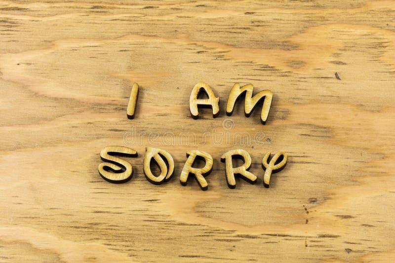 К сожалению извиняется извинение простить типу letterpress ошибки стоковое изображение rf