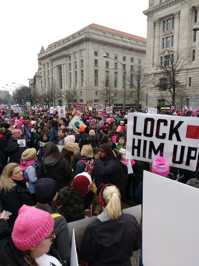 Козырь, замок он вверх, март женщин Вашингтон -го, DC, США стоковая фотография rf