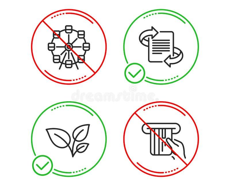 Колесо Ferris, значки маркетинга и листьев набор Знак кредитной карточки Парк привлекательности, статья, растет завод вектор бесплатная иллюстрация