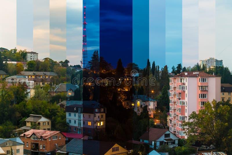 Коллаж промежутка времени кусков различных времен дня стоковая фотография rf