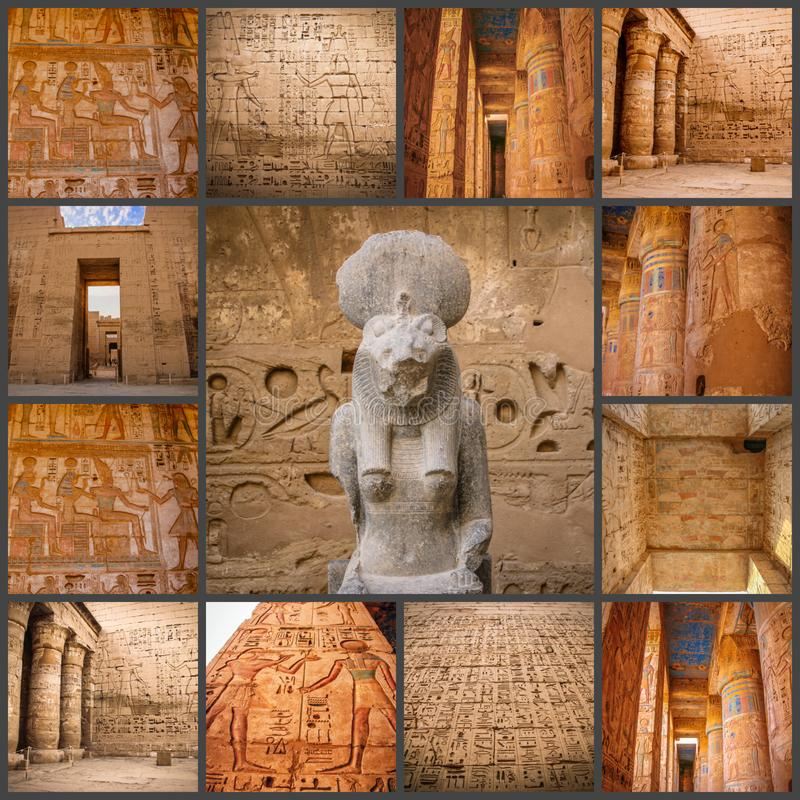 Коллаж древнего храма фото красивого medina-Habu Египет, Луксор стоковое изображение