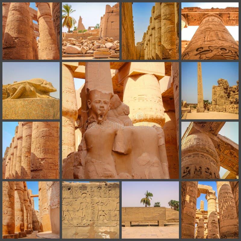 Коллаж древнего храма фото красивого medina-Habu Египет, Луксор стоковая фотография rf