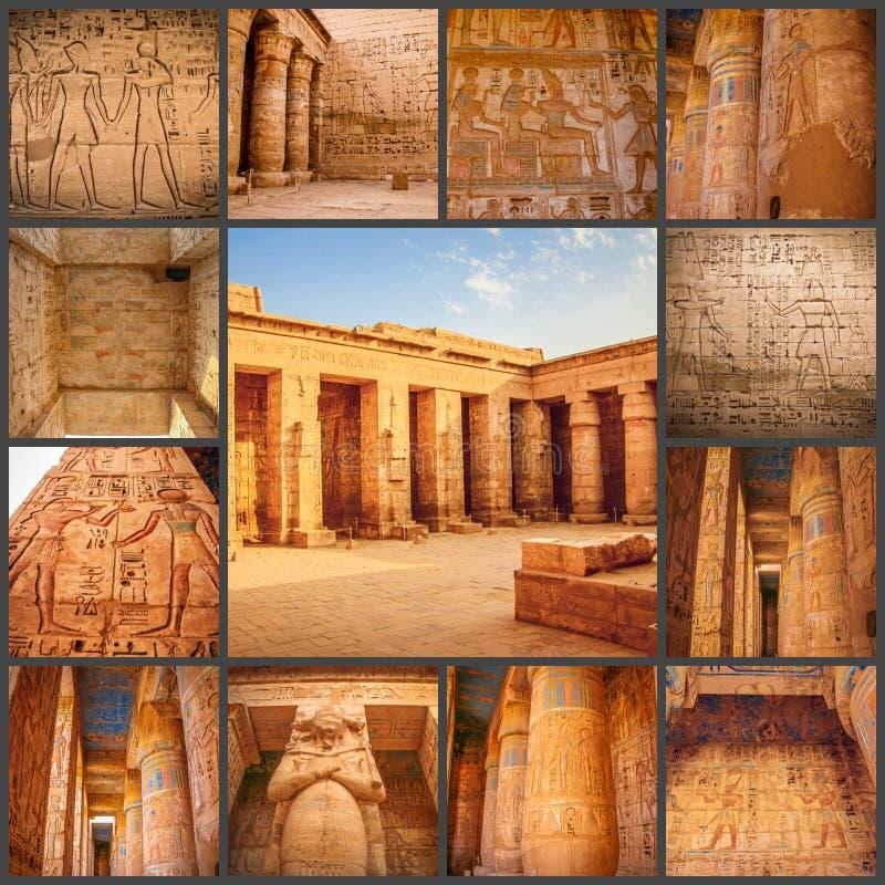 Коллаж древнего храма фото красивого medina-Habu Египет, Луксор стоковое фото
