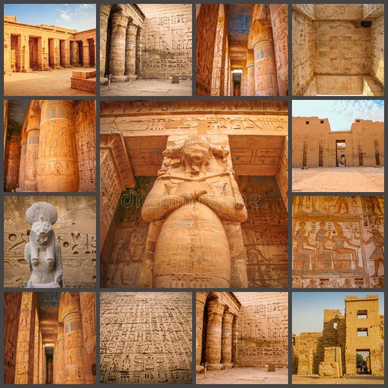 Коллаж древнего храма фото красивого medina-Habu Египет, Луксор стоковое изображение rf