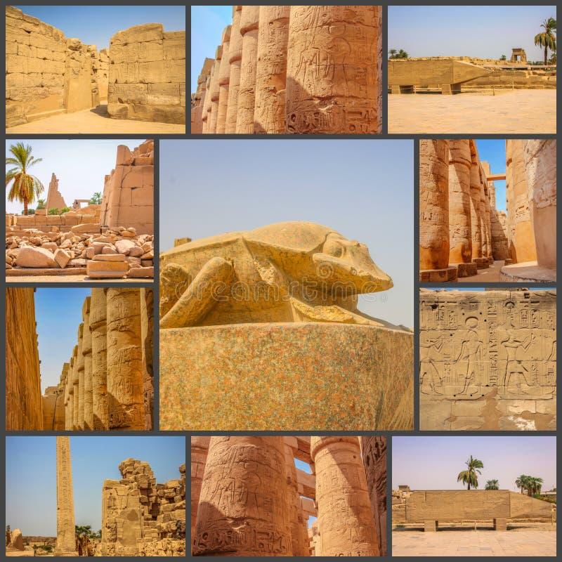 Коллаж древнего храма фото красивого medina-Habu Египет, Луксор стоковое фото rf